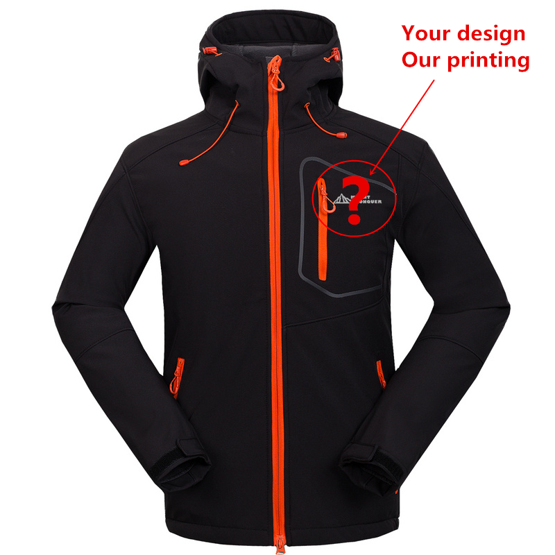Custom Support Tech Fleece Hooded Softshell Jacket Men Windproof Mountain Climbing Hiking Clothing Waterproof Fishing Ski Coat