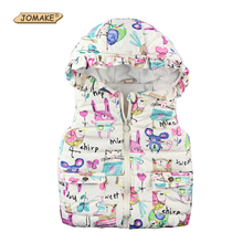 Children Clothing Winter Outerwear Coats Animal Graffiti Thick Princess Girls Vest Hooded Kids Jackets Baby Girl