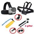 7 en 1 xiaomi yi 2 4 k acción accesorios de la cámara conjunto con cabeza de la correa de pecho monte arnés flotante selfie stick para xiaomi yi