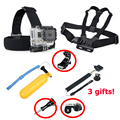 7 in 1 Xiaomi Yi 2 4k Action Camera Accessories Set with Head Strap Chest Harness Mount Floating Selfie Stick for Xiaomi yi