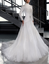 Vestidos De Novia High Nack Islamic Wedding Dresses With Beads And Crystal Long Sleeve Tulle Wedding Gowns Robe Mariage Sexy