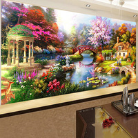5D Diamond Needlework Kit Full Round Diamond Painting Dream Garden Landscape Cross Stitch Diamond Embroidery Home