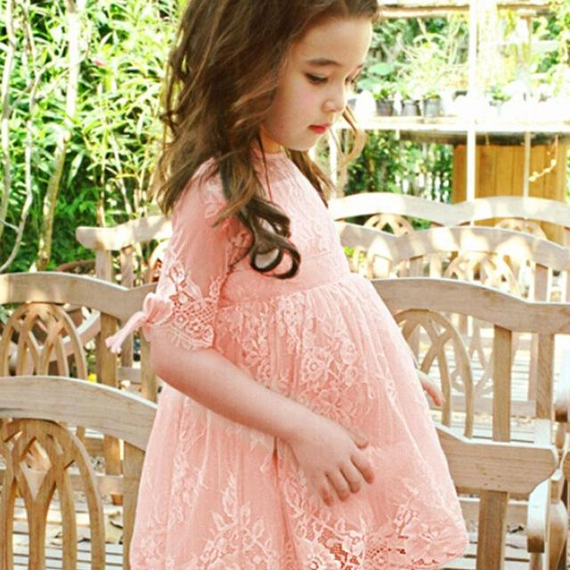 Sweet Kids Girls Lace Embroidery Lace Dress Ruffles Pink and Gray Color Summer Party Dress Western Fashion Cute Baby Dress