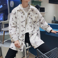 2018 mannen Mode Afdrukken Kleren Losse Casual jurk Zwart/Wit Kleur Lange Mouw mannen hawaiian Shirt camisa sociale masculina