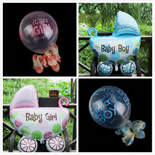 One Or 10pcs Mini Angel Baby Girls Balloon Baby Shower Baby Stroller Foil Ballon Baby Toys Newborn Party Decoration Air Balloons(China)