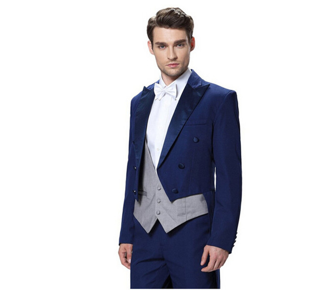 07e03bb7a93b Men's wedding suits groom Three Piece suits New Stage Performance Tuxedo  long jacket formal party suits (jacket+pants+vest+tie)
