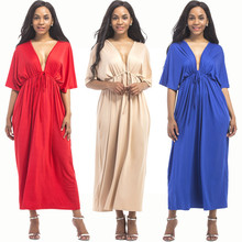 Summer new hot big size fashion sleeve women's dress V-neck loose wide leg straight lace female dress fat MM sexy ladies dress autumn new middle east popular solid color loose casual hanging neck loose wide leg large size fat mm sexy ladies dress