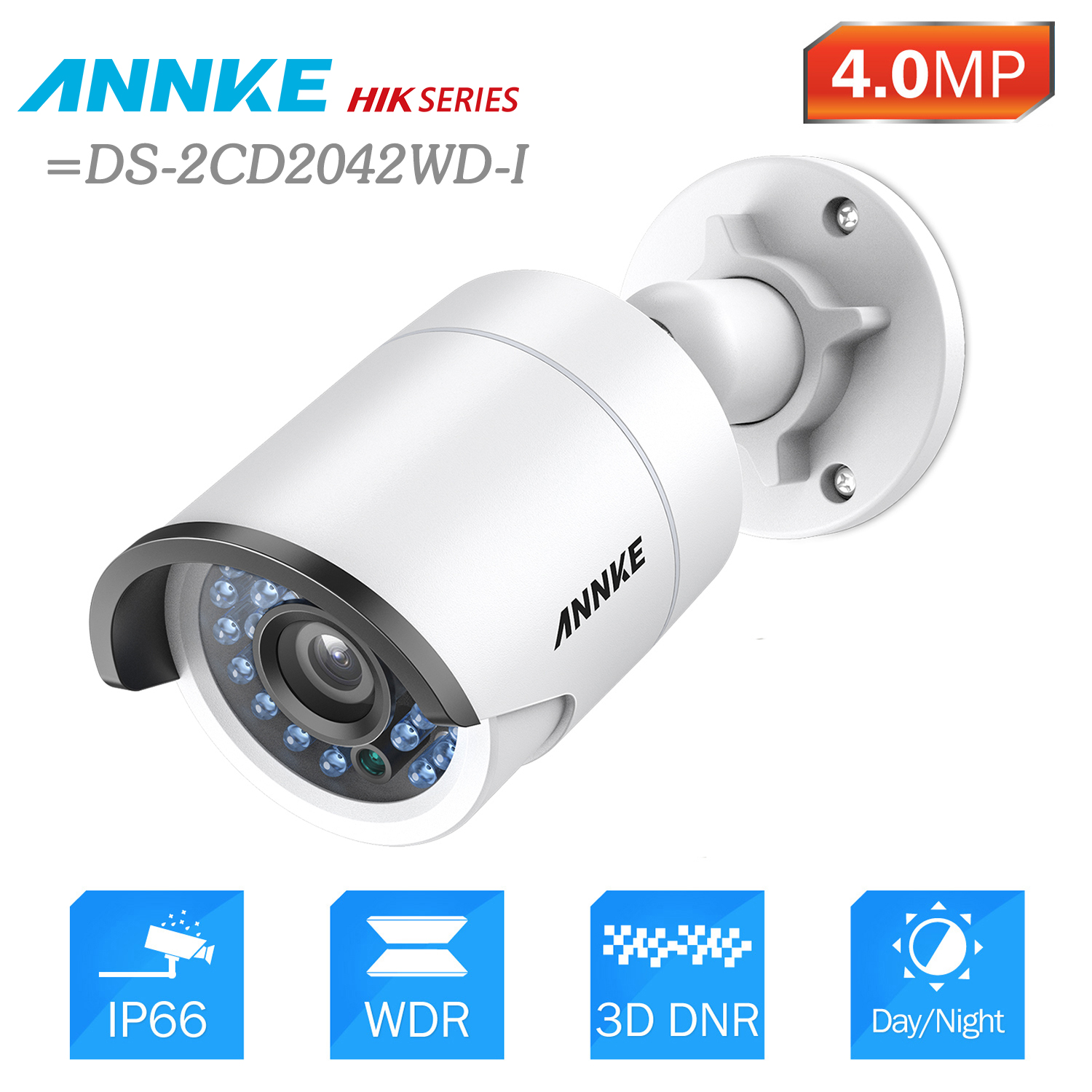 ANNKE 4.0 MP HD PoE Security Bullet IP Camera 30m Night Vision With IP66 Weatherproof Metal Case= HIK DS-2CD2042WD-I bullet camera tube camera headset holder with varied size in diameter