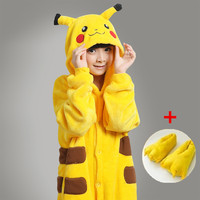Free Shipping 2014 Pikachu Kigurumi Cosplay Pajamas Fror Kids Child Animal Pyjamas Onesies Costume Girls Jumpsuit