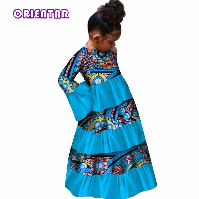382c137d36 African Children Baby Girls Long Dresses Traditional African Print Bazin  Riche Flare Sleeve Party Dress Kids Clothes WYT209