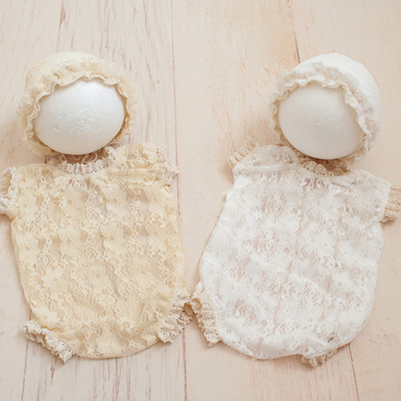 Baby Newborn Photo Props Summer Clothes Lace Hat Hollow V Backless Baby Rompers