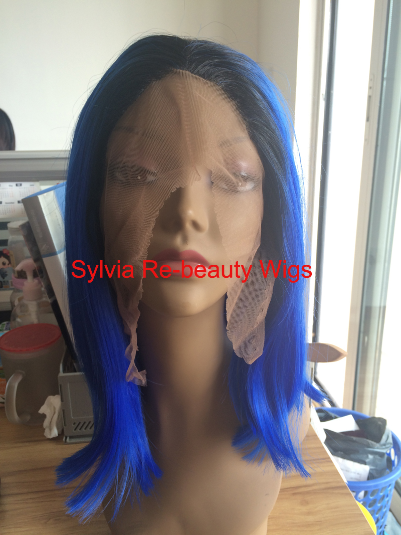 ФОТО Natural blue Bob Wig Synthetic Short Straight Middle Part Lace Front Wigs with dark roots Heat Resistant Short Bob Haircut Wig