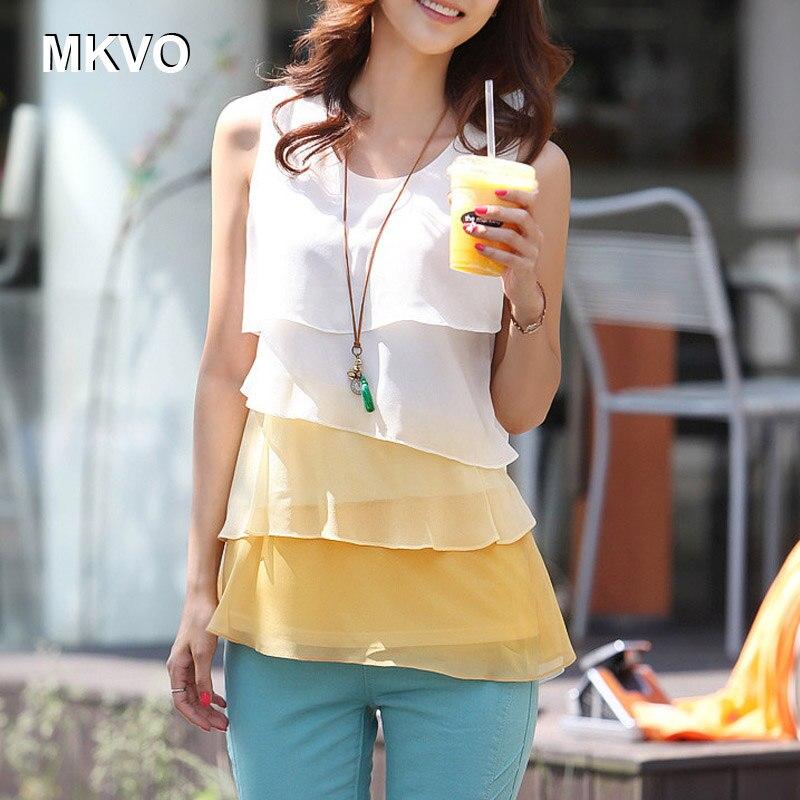 Marrón Bluses Femeninas amarillo Estilo Camisa Mangas Sin Blusas verde Blanca Las Moda De El Tops Gasa Damas Coreano Mujeres Más Tamaño On6qfOUR