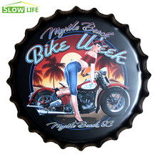 35cm Motorcycle Beer Bottle Cap Metal Tin Sign Vintage Home Decor Tin Sign Wall Decor Metal Sign 3D Wall Decor Metal Plaque