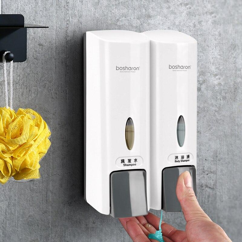 BOSHARON Soap Dispenser Wall Mounted 300ml Shampoo Dispensers For Bathroom Kitchen Detergent Double Single Shower Gel Dispenser