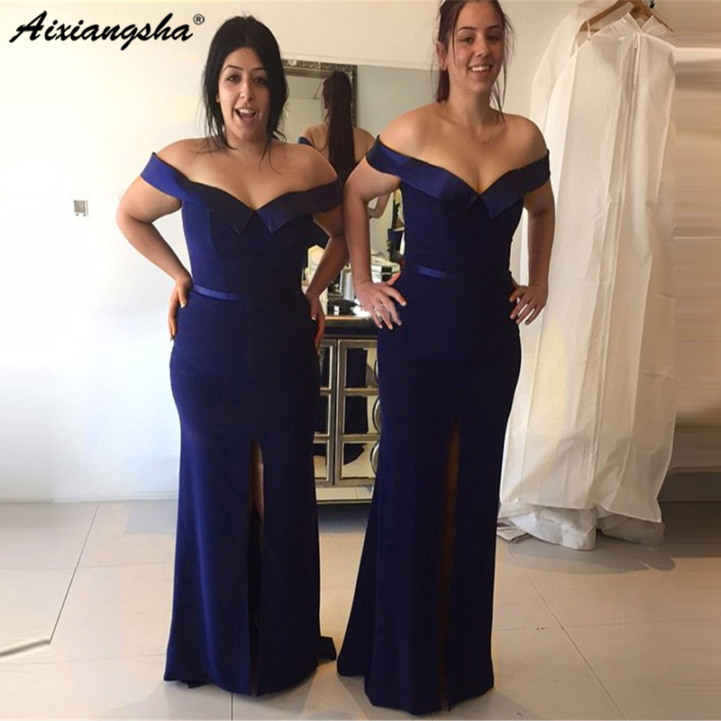 Navy Blue Mermaid 2019   Prom     Dresses   Long Boat Neck Off The Shoulder Split Elastic Satin Simple Evening Gown robe de soiree