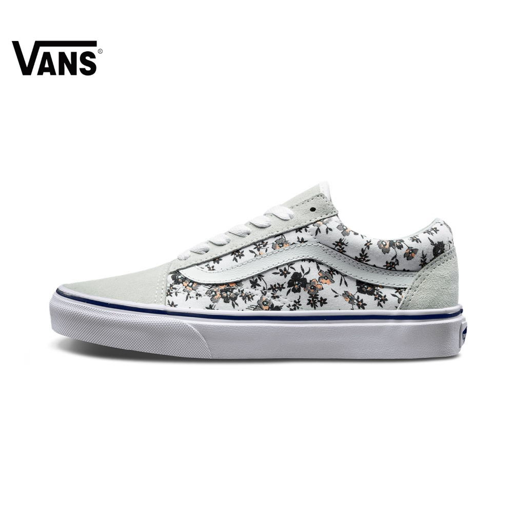 Original Vans Old Skool Flower Women Sneakers Low-Top Women Skateboarding Shoes Sport Shoes Canvas Shoes Sports Vans Sneakers original vans black and blue gray and red color low top men s skateboarding shoes sport shoes sneakers