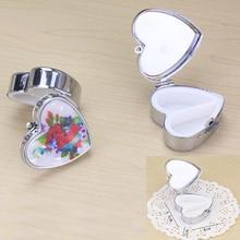 20pcs/lot Metal Medical Pill Box Home Essential Medicine Heart Shaped Two Lattice Case D40