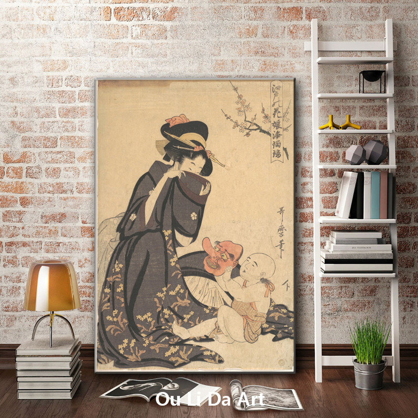 classical Japan figures women baby mask oil painting canvas painting ...