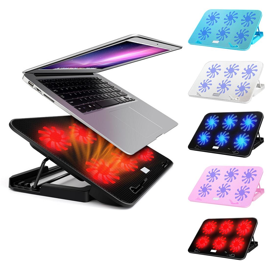NOYOKERE ordinateur portable tapis de refroidissement LED refroidisseur d'ordinateur portable 14-15.6 pouces 6 ventilateur de refroidissement support plaque muet refroidisseur pour processeur - 2