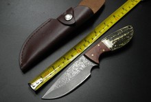 High-grade Damascus Antlers Handle Straight Knife Gift for Knife Collectors Handsel 100% Real Leather Holder