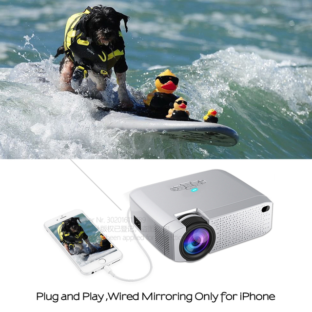 AUN LED Mini Projector D40W,Video Beamer for Home Cinema.1600 Lumens, Support HD, Wireless Sync Display For iPhone/Android Phone 2
