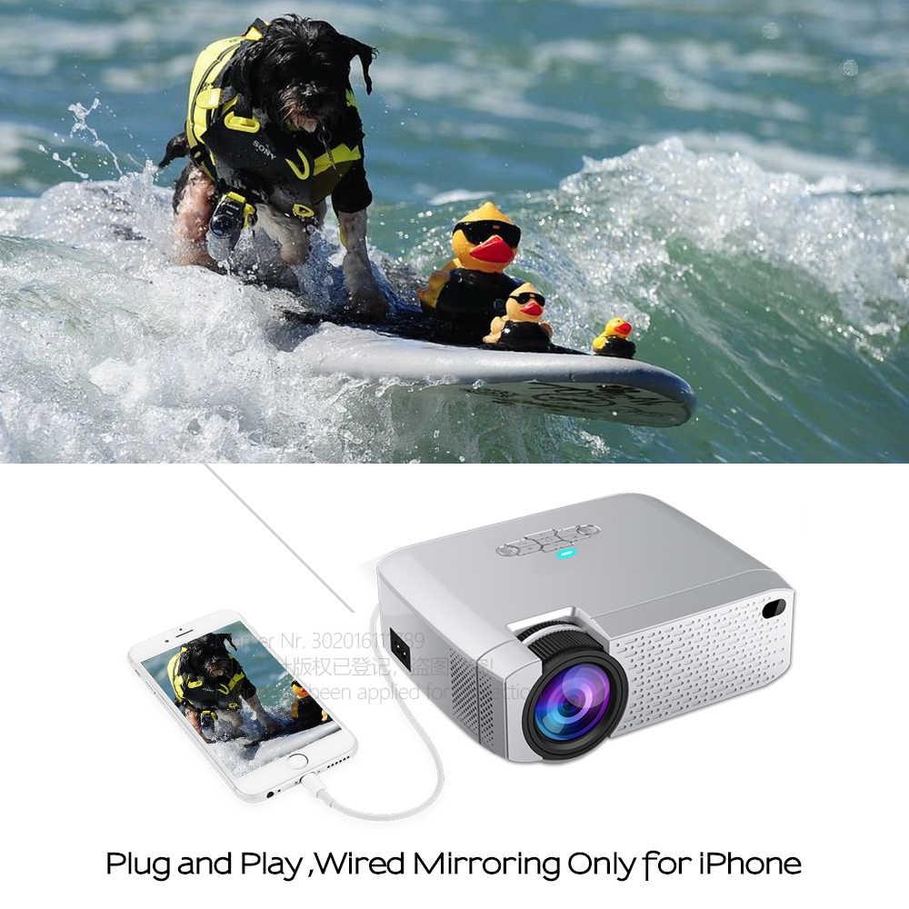 AUN HA CONDOTTO il Mini Proiettore D40W, Video Beamer per la Casa Cinema.1600 Lumen, Supporto HD, senza fili Visualizzazione di Sincronizzazione Per iPhone/Android Phone