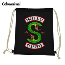 Coloranimal Gym Sack Riverdale Southside Serpents Men Drawstring Bag 3D Cartoon Anime Print Casual String Shoulder Backpack Men(China)
