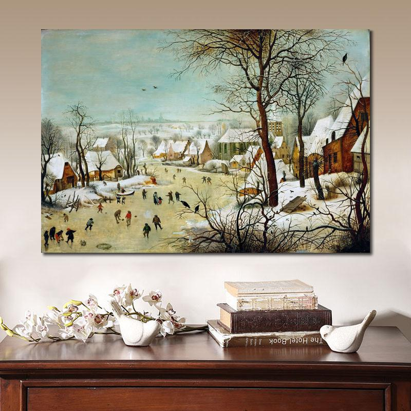 Winter Landscape With Scaters and a Bird Trap Canvas Art Print Pieter Bruegel