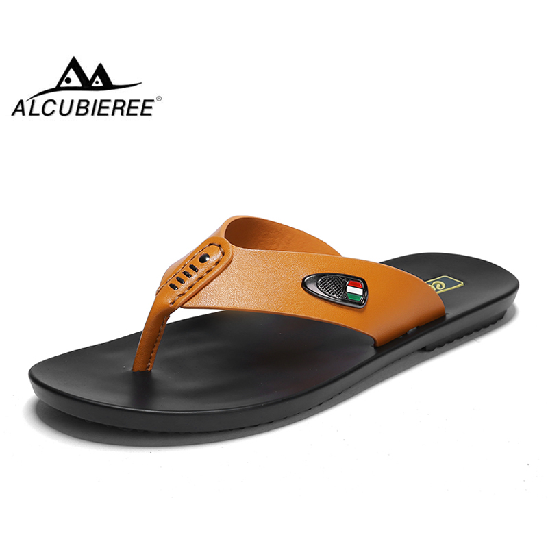 ALCUBIEREE Brand Mens Leather Flip Flops Genuine Leather Slippers Men Casual Beach Shoes Fashion Sandals Summer Breathable Slide