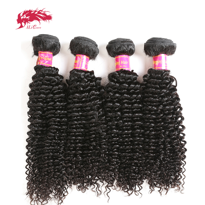Ali Queen Hair Products Kinky Curly Brazilian Virgin Hair Weft 4 Bundle Deal Natural Color 100% Human Hair Weaving Free Shipping