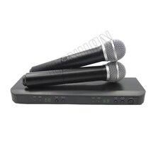 Profissional UHF Sistema de Microfone Sem Fio Duplo Microfone Handheld Canal Selecionável PRO SEM FIO DUPLO MICROFONE