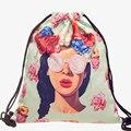 2016 Novo Saco de Cordão Mulheres Mochila 3d Impressão Patchwork Mochilas Softback Mochila Feminina Harajuku Unisex BP043