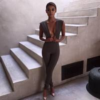 Womens-Gray-Deep-v-Neck-Fitted-Elegant-White-Sexy-Bodycon-Jumpsuit-Clubwear-1