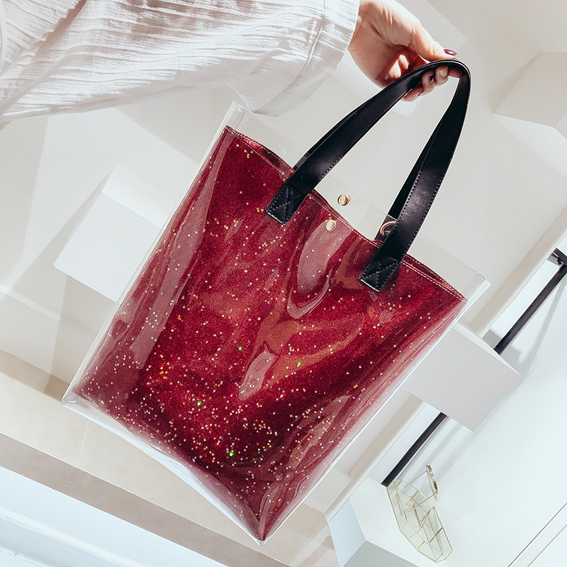 GOUSTER 2018 Hot Sale holographic Transparent Plastic Handbags Shoulder bag Women Trend Beach Tote Jelly PVC Clear Composite Bag цена