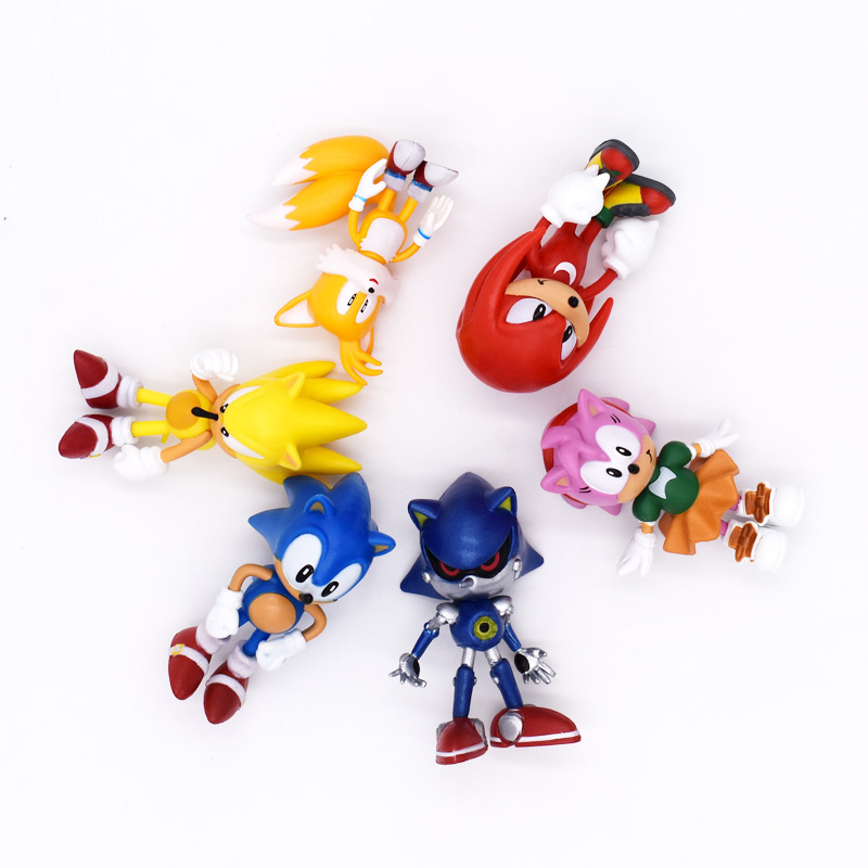 6Pcs/Set The Hedgehog 7cm PVC Action Figure Model Cartoon The Hedgehog Toy Brinquedos Children Birthday Gift Free Shipping