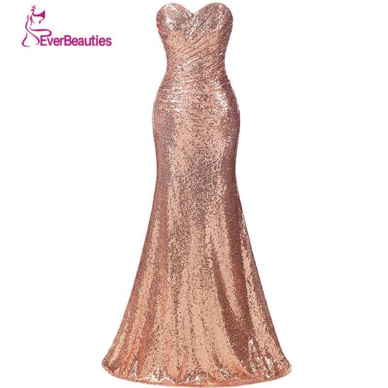 Goud pailletten bruidsmeisje jurk lange plus size champagne bruiloft - Bruiloft feestjurken - Foto 1