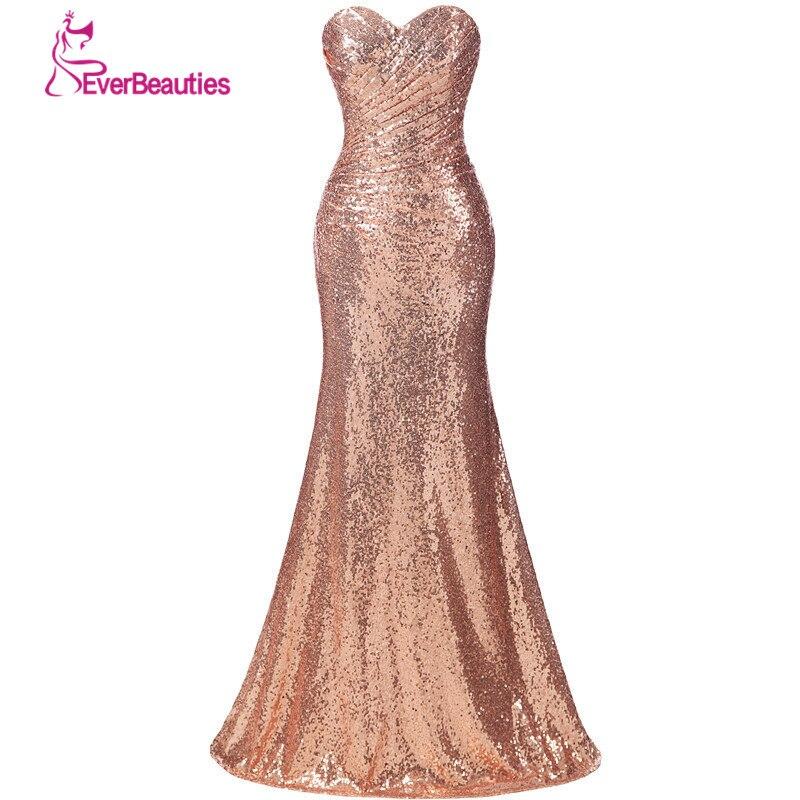 Emas Sequin Bridesmaid Dress Panjang Plus Saiz Champagne Pakaian - Pakaian majlis perkahwinan