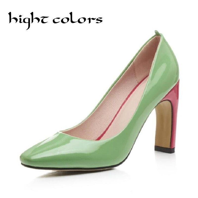 Shoes Woman Thick Heel Pumps Sexy Green High Heels Pointed Toe Women Shoes Brand Patent Leather Wedding Shoes For Women FS-88530 aiweiyi women high heel pump shoes 2018 pointed toe med heel high heels patent leather slip on platform pumps lady wedding shoes