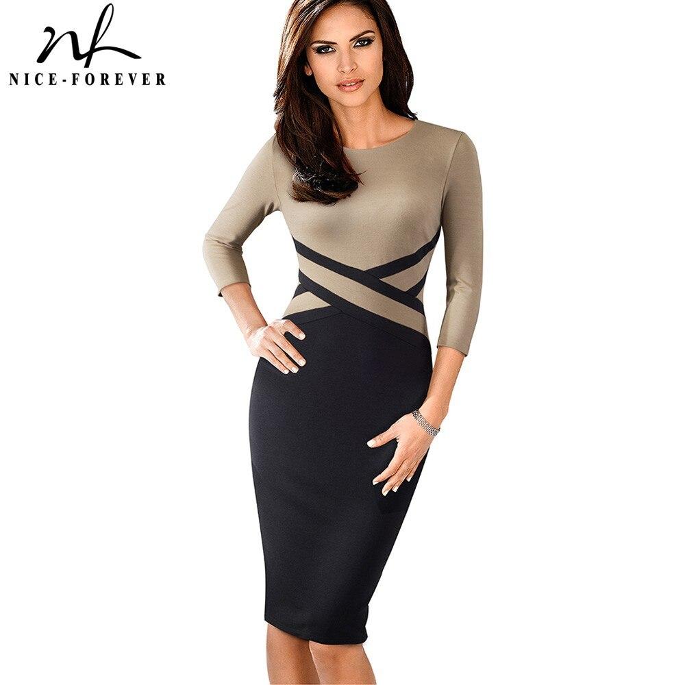 Nizza-für immer Vintage Elegante Kontrast Farbe Patchwork Tragen zu Arbeiten vestidos Business Party Büro Frauen Bodycon Kleid B463