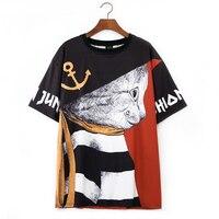 Harajuku T Shirt Women 2019 Casual Summer t shirt Crop Top Print Hand Painted Cat tshirt female tops O Neck Cute Black Red Tees