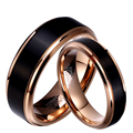 1 Pair Man & Woman Black & Rose Gold Tungsten Carbide Marriage Wedding Rings Set 8mm for Boy 6mm for Girl