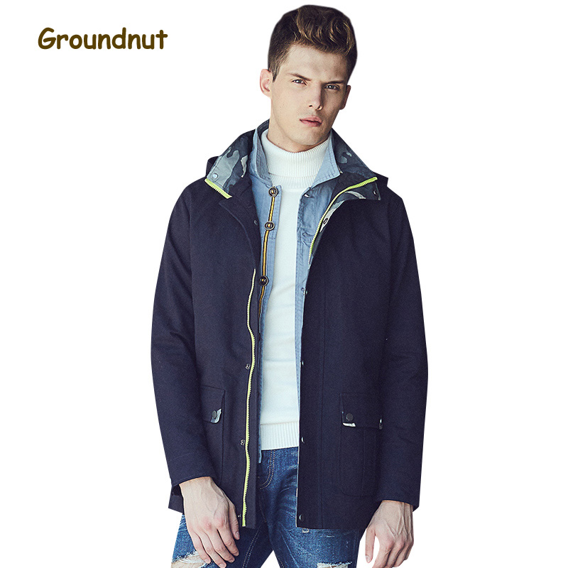Groundnut Brand 2017 Autumn Collection 100% Cotton Jacket Men Elegant Baseball Style Single Breasted Jackets With Hood
