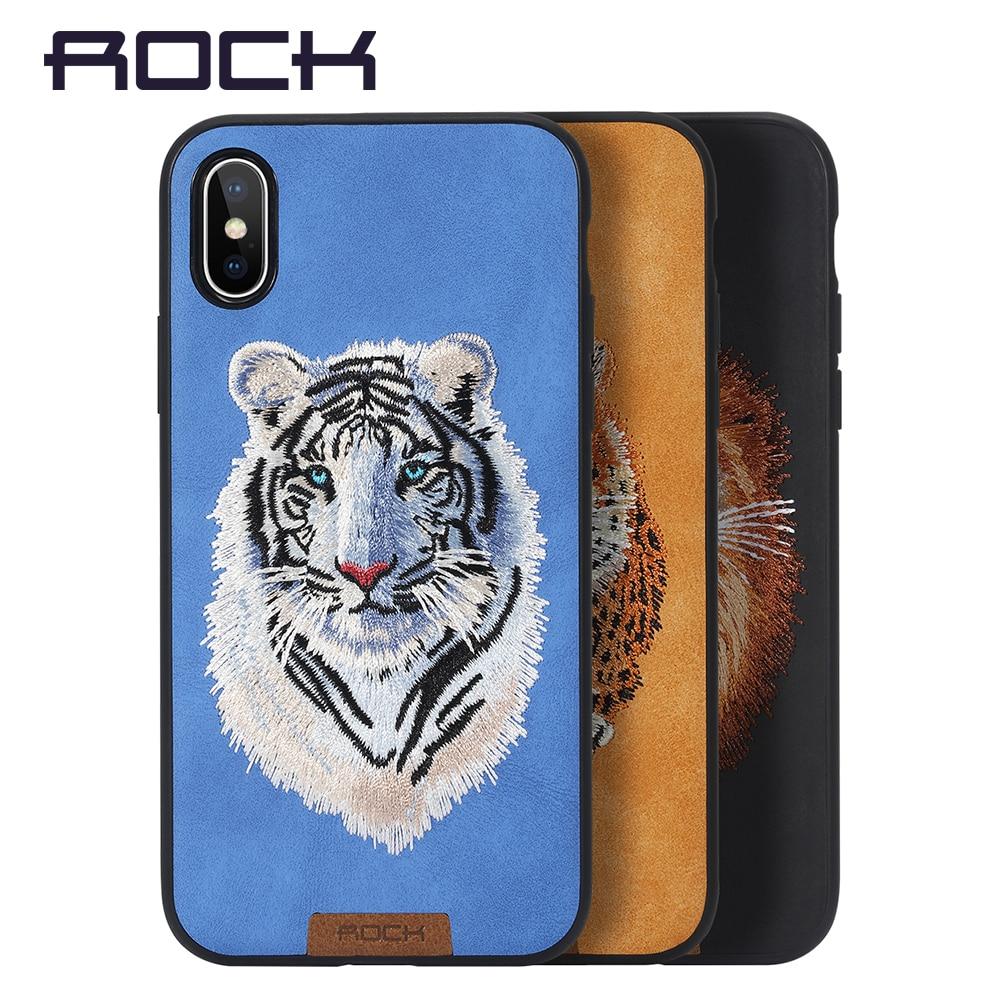 Per il caso di iphone X, ROCK Serie Bestia Cover Per iPhone X Protezione Della Copertura Posteriore del PC + TPU Ricamato Caso Del Modello Per il iphone X
