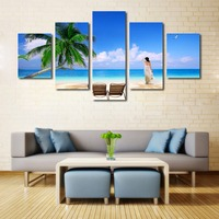 5 piece canvas art painting Sea and beach landscape painting Beauty women poster pictures no framed Bohemian style Holiday