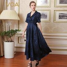 VOA Silk Navy Blue Vintage Dresses Women Elegant Luxurious A-Line Short Sleeves Ankle-Length Turn-Down Collar Vestidos A7628