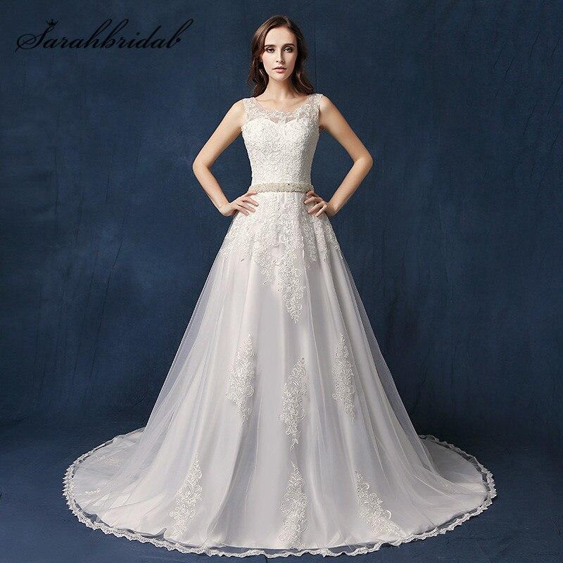 Seksi gaun pengantin putri duyung elegan, A-line kereta pengadilan O-Neck kembali renda buatan tangan kristal gaun prom, ...