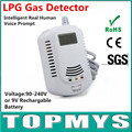 Free Shipping 100pcs Home security Safety Intelligent Real Human Voice Prompt LPG Gas Detector with LCD Display Smoke Detector