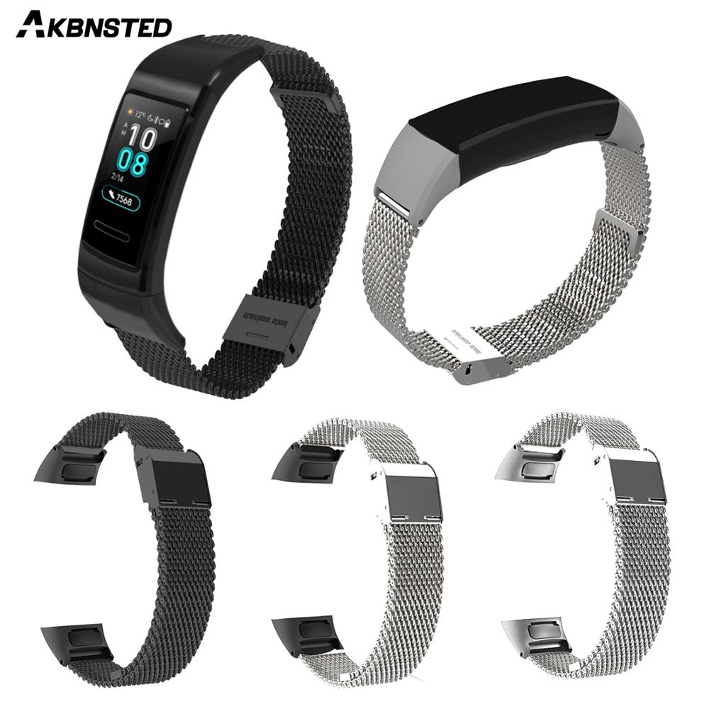AKBNSTED Metal Stainless Steel Band For Huawei Band 3 Watch Wristband Strap For Huawei Band 3 Pro Milanese Loop Accessories