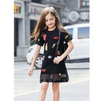 Retail Kids Girls Summer Dresses 2016 Cotton Striped Dress For Teenage Girls Off Shoulder Dress For
